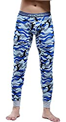 mens cotton camouflage patterned thermal pants blue