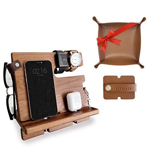 Eterluck Gifts for Men, Wood Docking Station Bundle with a Valet Tray and an Earphone Holder - Valentine's Day Gifts, Gifts for Him, Gifts for Boyfriend, Birthday Gifts for Men, Gifts for Dad.