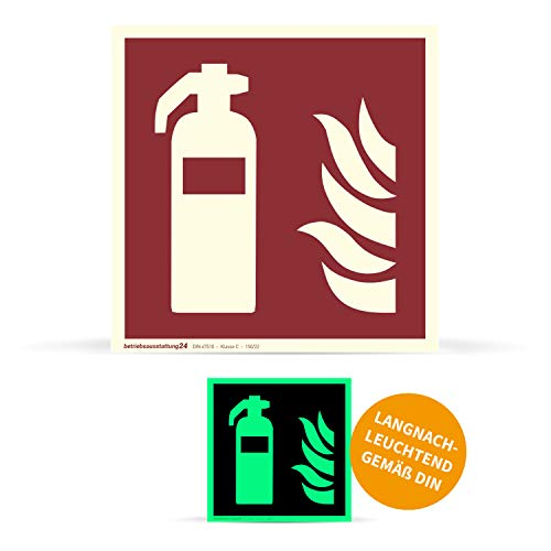 Bedrijfsuitrusting24 1000048 brandbeveiligingschild brandwering brandblusser ASR A1.3 ISO 7010 F001 folie (klevend) langluminescerend DIN 67510 klasse C, 15 x 15 cm