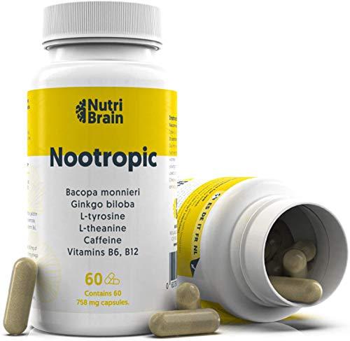 Nootrópico Natural Envase XL 60 Cápsulas | Fórmula para incrementar la energía, concentración y agilidad mental | Cafeína, Ginko Biloba, Tirosina, Teanina, Bacopa Monnieri y Vitaminas