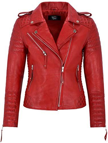 Smart Range Leather Co. Ltd. Giacca in Pelle da Donna Classico Stile da Motociclista 100% Vera Pelle Napa 2260 (8 for Bust 74cm, Red)