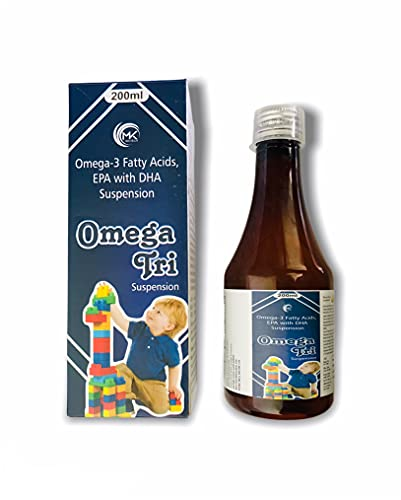 M K Biotech Omega-3 Fatty Acids, EPA with DHA Suspension Mango Flavor for Kids, Adults, 200 ml each, Pack of 2