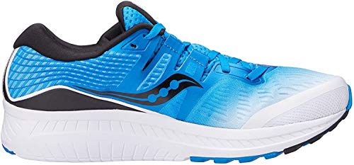 Saucony Men's Ride ISO Running Shoe, White/Black/Blue, 10.5 M US