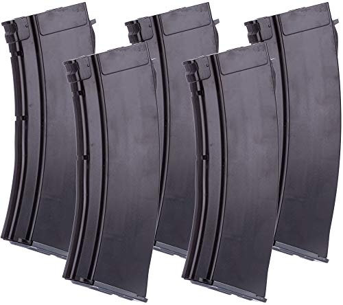 Evike MAG 100 Round Mid-Cap Magazine for AK Series Airsoft AEG (Color: Plum / 5.45 Style/Package of 5)