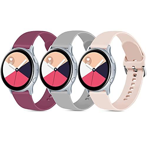 AMK 3 pulseras compatibles con Samsung Galaxy Watch Active/Active 2 40 mm 44 mm, 20 mm, silicona suave de repuesto para Galaxy Watch 3 41 mm/Gear Sport (rojo/gris/rosa, L)