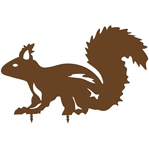 bellissa Diverse Deko Rost-Figuren Tiere – Lebensgroße Dekotiere Gartenstecker Zaun Corten Edelrost Eichhörnchen 30 x 20 x 0,15 cm