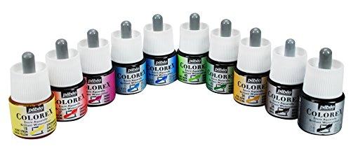 Pebeo Colorex, Watercolor Ink, 10 Assorted 45 ml Bottles