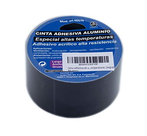 Cinta adhesiva de 10metros. Cinta adhesiva aluminio color negro. Acrílico alta resistencia especial para altas temperaturas. ✅