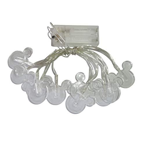 Penfly 1,65 m 10 LEDs Dekoratives Cartoon Micky Maus Nacht-Stimmungslicht Romantische Lampe für Zuhause Indoor Schlafzimmer Party Festival Dekor (weiß)
