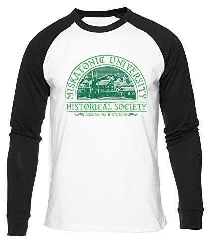 Miskatonic University Camiseta De Béisbol Hombres Mujeres Unisex Blanco Cuello Redondo Manga Larga Algodon Organico tee Baseball T-Shirt Unisex White XXL