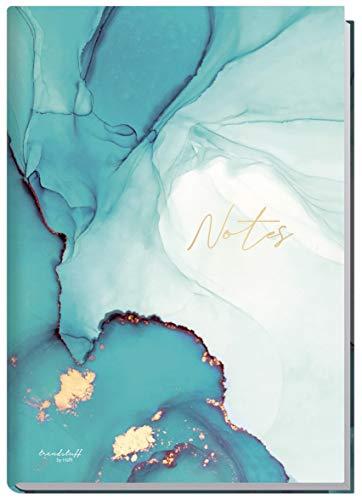 Notizbuch A5 liniert [Smaragd Gold] von Trendstuff by Häfft | 126 Seiten | ideal als Tagebuch, Bullet Journal, Ideenbuch, Schreibheft | nachhaltig & klimaneutral