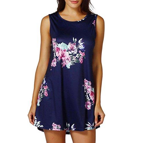 VEMOW Sommer Damen Damen Casual Blumendruck Sleeveless Weste Shirt Tank Bluse Tunika Tops Tees Pullover(Marine, 44 DE/L CN)
