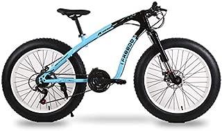 EGO TECHNOLOGY Bicicleta Vintage Retro MTB Rodada 26 Fat Tire 7 Velocidades Pedal Plegable Acero Montaña Ciclismo Uso Diario Urbano Freno de Disco Azul