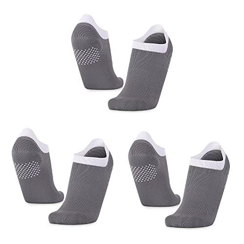 SOCKE 3 pares de calcetines de agarre para correr, calcetines antideslizantes de yoga, calcetines antideslizantes para yoga, barre, ballet, danza descalzo, gris oscuro, Talla única