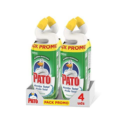 Pato - Wc Acción Total Limpiador para Inodoro Frescor, Limpia y Perfuma, 750 ml (2 x Duo Pack, 4 Unidades)[Todos los Aromas], Verde