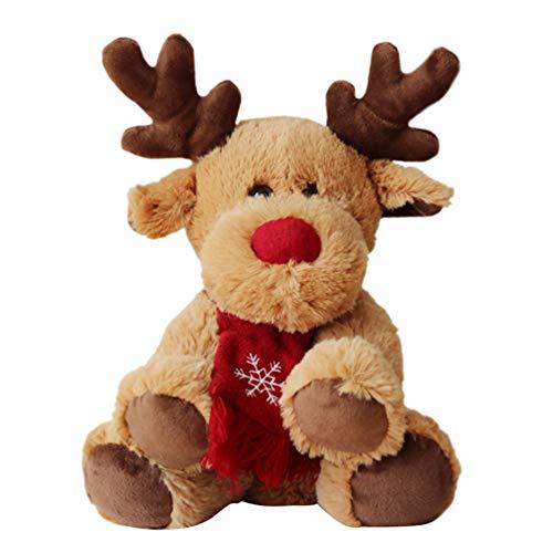 NUOBESTY Juguete de Peluche de Reno de Navidad con Adorno de Bufanda Reno muñeco de Peluche muñeca Regalos de...