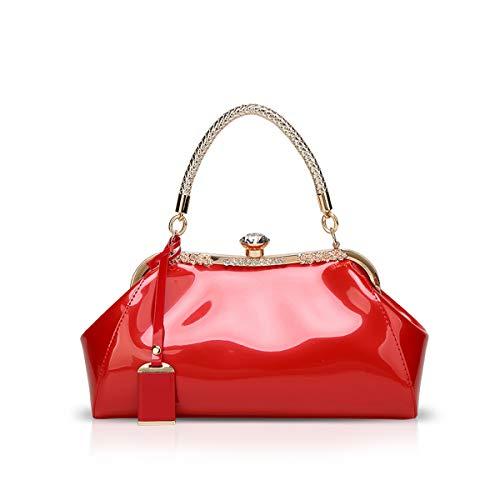 NICOLE & DORIS Handtaschen für Damen Lackleder Handtaschen Abendtasche für Party Hochzeit schultertasche rot