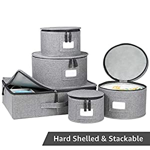 China Storage Set, Hard Shell and Stackable, for Dinnerware Storage and Transport, Protects Dishes Cups and Mugs, Felt Plate Dividers Included (Grey) by