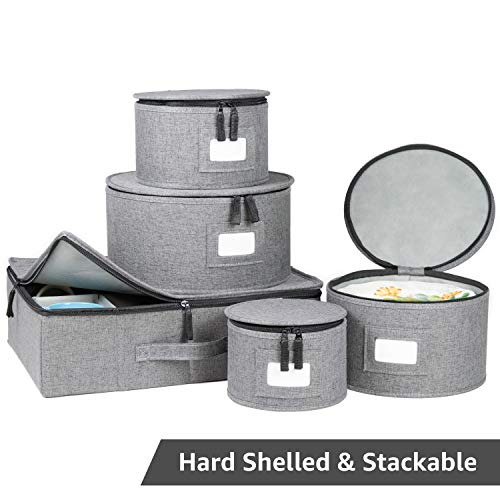 China Storage Set, Hard Shell and Stackable, for Dinnerware Storage and Transport, Protects Dishes Cups and Mugs, Felt Plate Dividers Included (Grey)