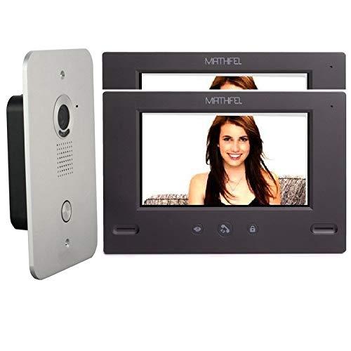 4 Draht Video Türsprechanlage Gegensprechanlage 7'' Monitor Klingel Farb mit oder ohne WLAN Schnittstelle, 2x7'' Monitor