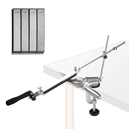 IMAGE Messerschärfer Edelstahl Messerschleifer Set mit 4 Diamant Schleifstein 240/400/600/1000 für Küchenmesser