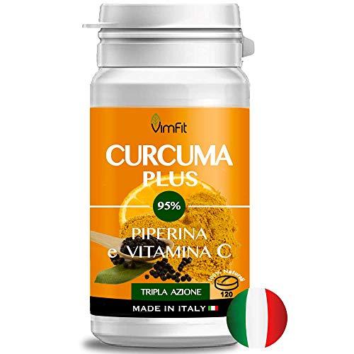 Vimfit Curcuma e Piperina Plus Vitamina C ,120 cpr ad Alto Dosaggio di Curcumina e Piperina , Vegan e Senza Lattosio - Antiossidante Antinfiammatorio Antidolorifico