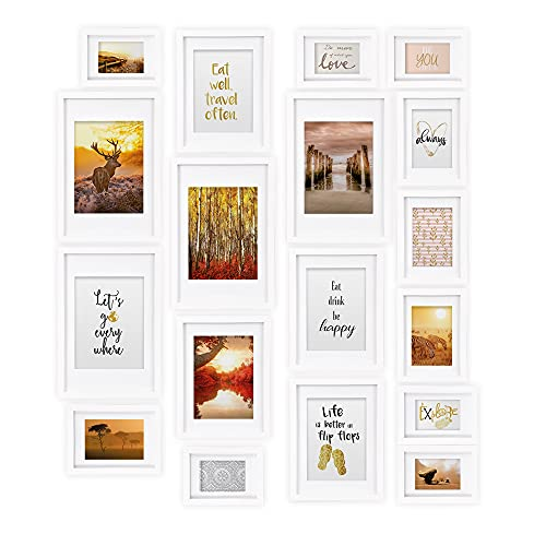 bomoe Set di 18 Cornici per foto Passion - Cornici foto collage - collage portafoto - Bianco - Cornici foto multiple da Parete - cornici in legno 6x 10,5x15cm / 4x 13x18cm / 4x 18x24cm / 4x 20x30cm