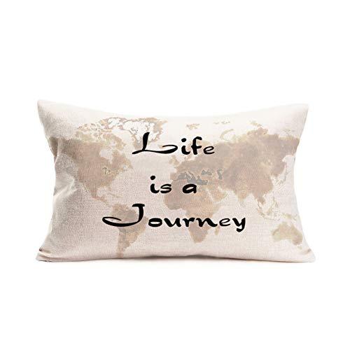 Tlovudori Life is a Wonderful Journey - Federa per cuscino con scritta 'World Map Geography', in cotone e lino, decorazione per divano, sedia, 30 x 50 cm (Life-Journey)