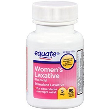 60 Ct Bottle Women's Laxative Tablets, Bisacodyl 5mg by Equate Compare to Correctol