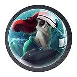 Lustige Meerjungfrau Möbelknöpfe Schrankknopf 4er-Pack Möbelgriff mit Edelstahl-Schraubschrank Kleiderschrank Kommode Boxdekoration