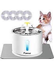 Parner Katzen Trinkbrunnen, Wasserspender für Katzen mit Wasserstand Fenster, Cat Water Fountain Rostfreier Stahl mit 4 Stück Hygienefilter & 1 Silikonmatte, Trinkbrunnen für Haustiere mit LED-Licht.