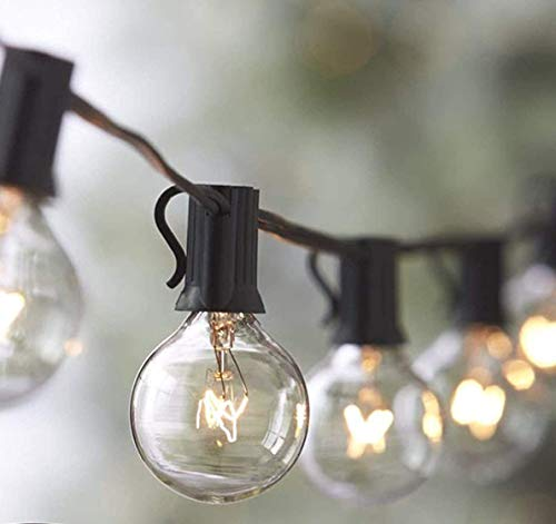 2-Pack Lemontec String Lights, 25FT Vintage Backyard Patio String Light with 25 Clear Globe Bulbs-UL Listed for Indoor/Outdoor Use Globe Light Tents Market Cafe Porch Party, 2 Pack 50 Bulbs 50FT