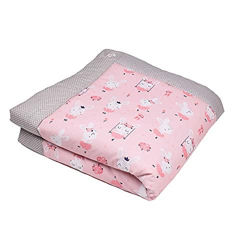 SWADDYL ® Manta de bebe para arroparlo y para gatear I alfombra de bebe para jugar, Parque bebe (100x100) Liebre Rosa
