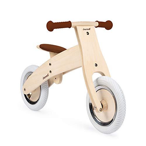 Juratoys-Janod- Bicicleta sin Pedales de Madera, Personalizable, Color marrón, 56 x 17 x 32 cm (J03276)