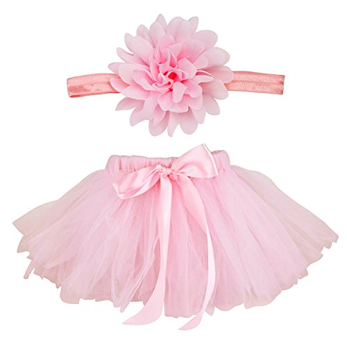 Coobey Baby Girls Tutu Skirt Dress Headband Pink Set for Photography Prop