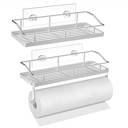 SMARTAKE Paper Towel Holder with Shelf and Shower Caddy Set Stainless Steel Wall Mounted Paper Towel Holder Rack with Adhesive Storage Organizer for Kitchen Bathroom and Dorm