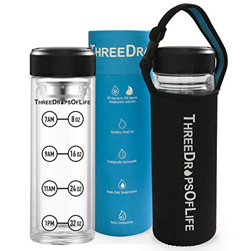 New 32 oz Double Wall Large Glass Water Bottle, Time...
