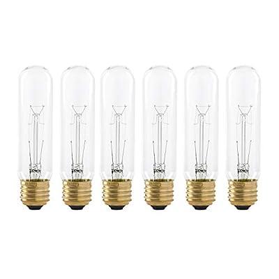 40 Watt T10 Clear Tubular Incandescent Light Bulb, 2700K Soft White, E26 Medium Base, 280 Lumens, 120V