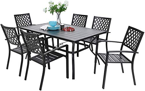 Sophia & William Metal Outdoor Patio Dining Sets 7 Piece with Umbrella Hole - 60' x 37.8' Rectangle Patio Table and 6 Backyard Garden Outdoor Chairs, Black