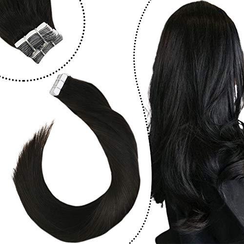 Ugeat Tape in Extensions Remy Echthaar Haarverlangerung Naturlich Glatt 55cm Skin Adhesive Weft Tressen Glue in Remi Human Hair Naturliches Schwarz #1B 2.5GR 20Stucke/Paket