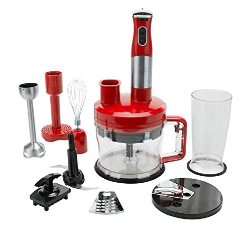 Wolfgang Puck 7-in-1 Immersion Blender with 12-Cup Food Processor - Red