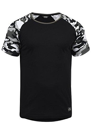 !Solid Cahil Herren T-Shirt Kurzarm Shirt Mit Rundhalsausschnitt Und Camouflage-Muster, Größe:M, Farbe:Black Grey (G9000)