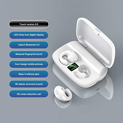 YMKT Auriculares Inalámbricos TWS Conducción Ósea Semi-In-Ear Bluetooth 5 0 Auriculares Deportivos Estéreo Sonido Envolvente Auriculares LED Pantalla Digital Auriculares Manos Libres
