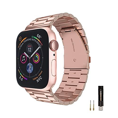 BERYCH Armband Kompatibel mit Apple Watch Armband 40mm 38mm,Edelstahl Ersatz Armband für apple watch se,Kompatibel mit Apple Watch Series 6 Series 5 Series 4 Series 3/2 /1 (Roségold)