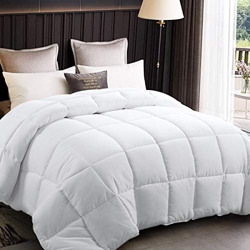 EDILLY All Season Full Size Soft Quilted Down Alternative Comforter Hotel Collection Reversible Duvet Insert with Corner Tabs,Summer Cooling Fluffy Hypoallergenic,Dark Grey,82 by 86 Inches,White