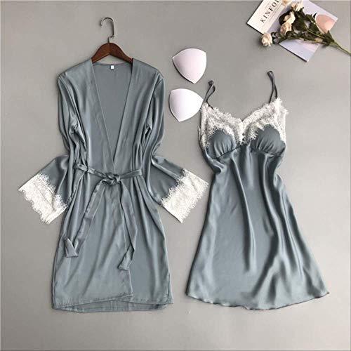 Damen Nachthemd Sommer und Frühling Damen Seidenfleck 2-teiliges Set Kleid + Mantel Langarm Spitze Popeline Schlafrock Nachtwäsche XL Lake Blue