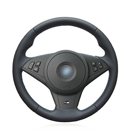 MEWANT DIY Hand Nähen atmungsaktiv schwarz Kunstleder Auto Auto Lenkradbezüge Wrap für E60 M5 2005-2008 E63 E64 Cabrio M6 2005-2010 (mit Ausbuchtungen + mit M-Markierung am Lenkrad)