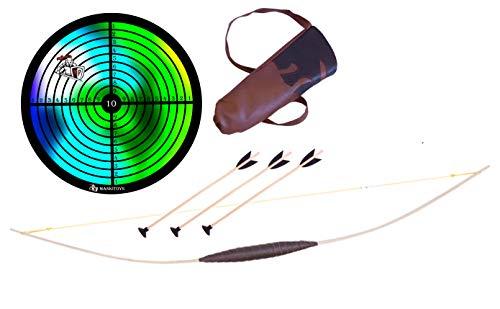 Mankitoys Kinderbogenset enthält Kinderbogen aus 80cm mit Köcher, 3 Pfeile mit Saugnapf und Zielscheibe, Kinderbogen ab 5, Bogenschießen (80)