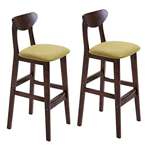 bdb Sgabelli da Bar Quadrati Moderni Set di 2, Kitchen Sedie da Bar da Cucina for La Casa , Sgabello da Bar di Altezza Comoda con Schienale E Poggiapiedi mobilia (Colore : Verde)