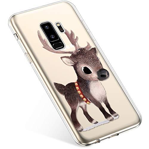 Uposao Samsung Galaxy S9Plus Carcasa Silicona TPU Funda Funda Blanda Transparente, diseño de Navidad Ciervo.
